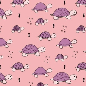 Cute baby turtle pura vida animals collection turtles  tortoise  illustration for kids pink
