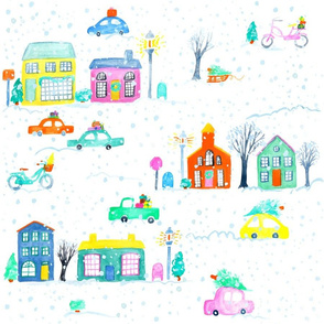 Christmas Town // vintage retro modern cute city holiday winter snow cars bright merry bike bicycle village tamara arcilla