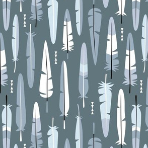 Geometric vintage feathers pastel arrows in winter blue gray illustration pattern