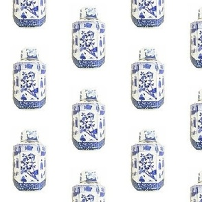 Chinoiserie Blue and White Tea Caddy