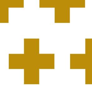 Cheater Quilt in Mustard White Plus