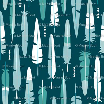 Geometric vintage feathers pastel arrows in winter blue green illustration pattern