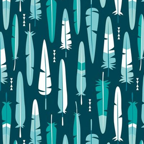Geometric vintage feathers pastel arrows in winter blue green illustration pattern