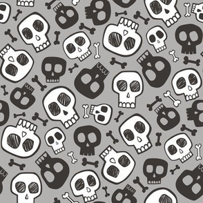 Skulls and Bones Halloween Black & White on Grey Smaller 1,5 inch