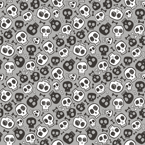 Skulls and Bones Halloween Black & White on Grey Tiny Small 0,75 inch fabric by caja_design on Spoonflower - custom fabric