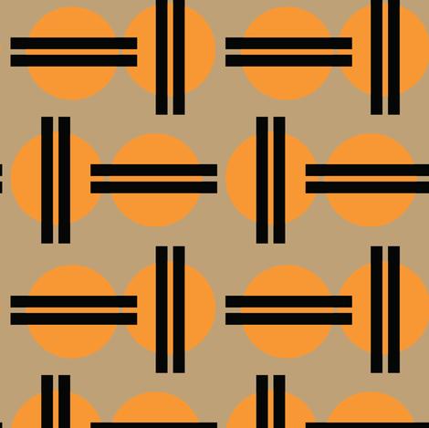 16-16C Asian Japanese Japan Graphic Sun || Orange Black Khaki  Tan _Miss Chiff Designs fabric by misschiffdesigns on Spoonflower - custom fabric