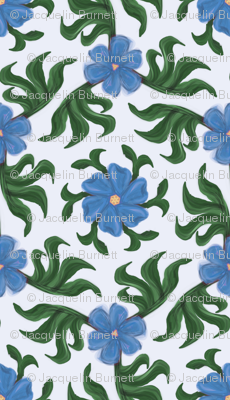 Blue Floral with Tropical Leaves