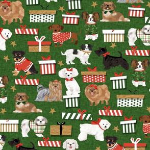 dogs christmas bichon frise pekingese dachshund doxie chihuahua maltese poodle scottish terrier japanese chin dog papillon yorkshire terrier dog christmas vintage