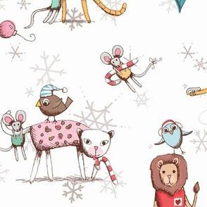 Christmas Cats - white