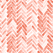 coral watercolor herringbone