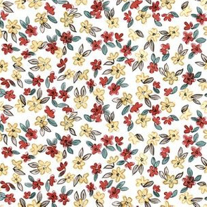 Tiny Red and Yellow Floral