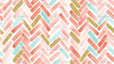 coral mint gold herringbone