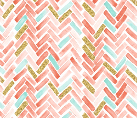 coral mint gold herringbone fabric by mrshervi on Spoonflower - custom fabric