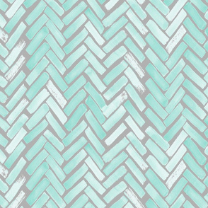 gray mint watercolor herringbone