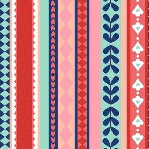 Vintage Christmas Stripe - Pomegranate