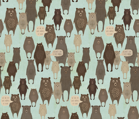 we are all wild animals at heart blue fabric by katherine_quinn on Spoonflower - custom fabric