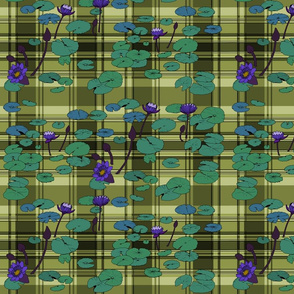 Lily pads in lush on olive plaid