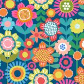 Flower Power - Navy Background