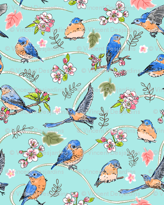 Bluebirds and Apple Blossoms