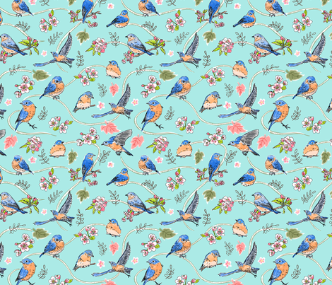 Bluebirds and Apple Blossoms fabric by vinpauld on Spoonflower - custom fabric