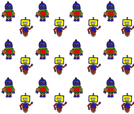 Robots fabric by chavamade on Spoonflower - custom fabric
