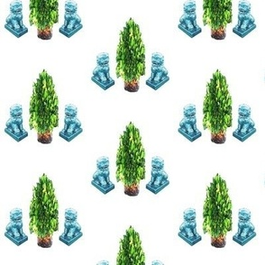 Turquoise Foo Dogs and Boxwood Topiary