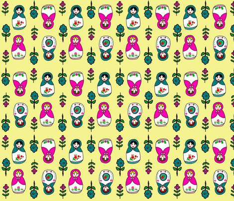 Russian Dolls Buttercream fabric by chavamade on Spoonflower - custom fabric