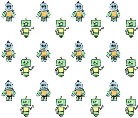 Pastel Robots fabric by chavamade on Spoonflower - custom fabric