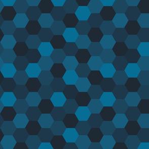 Hexagon Cheater Quilt (Deep Indigo)