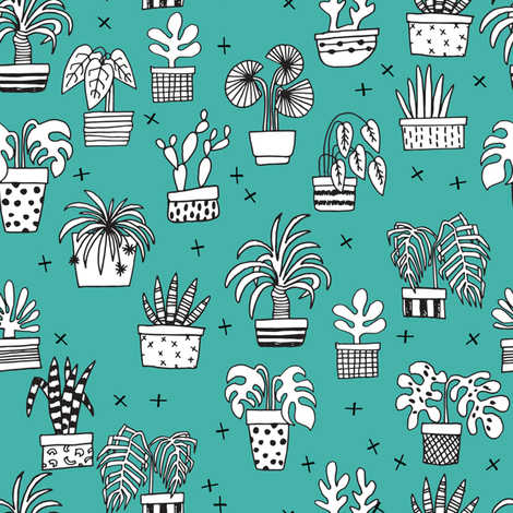houseplants // teal plants plant cactus cacti hand drawn illustration fabric by andrea_lauren on Spoonflower - custom fabric