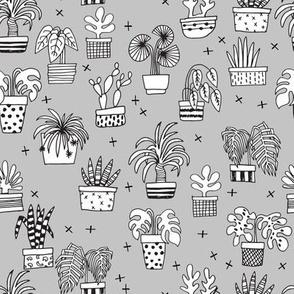houseplants // grey plant plants cactus cacti hand drawn illustration 2017