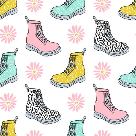 90s shoes // shoes boots fashion kids pastel daisies throwback retro nostalgia fabric by andrea_lauren on Spoonflower - custom fabric