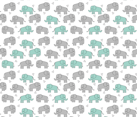 elephant // grey and mint kids nursery baby mint and grey baby print fabric by andrea_lauren on Spoonflower - custom fabric