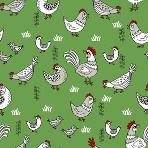chickens // chicken farmyard farm homestead bird birds egg hand-drawn illustration