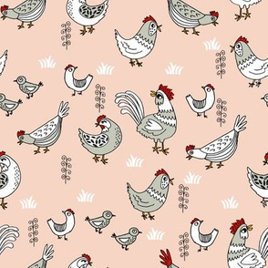 chickens // backyard farm farmyard chicken blush hand-drawn illustration bird birds