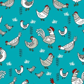chickens // teal farm farmyard backyard homestead bird farms andrea lauren hand-drawn illustration