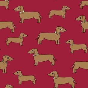 dachshund // doxie maroon dog cute pet dogs fabric