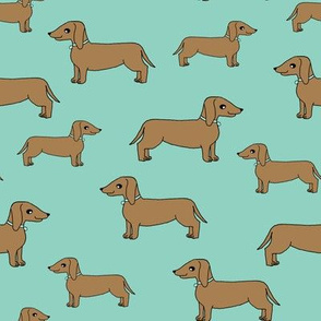 dachshund // dog mint cute dog pet dog sweet dog fabric pet