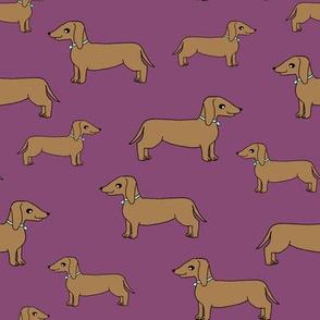 dachshund // dog purple dog cute sweet doxie dog fabric adorable pet wiener dog