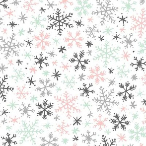 Snowfall (Mint and Pink)