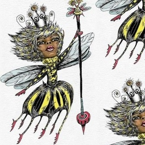 African American Queen Bee of Color, large scale, white black yellow red