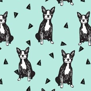boston terrier // light mint dogs dog sketch cute dogs pet dogs dog breed fabric