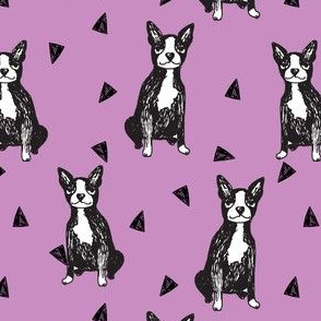 boston terriers // purple dog dogs pet dog fabric cute dogs pets purple dog breed fabric