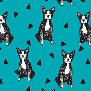 boston terrier // cute teal boston terriers cute dog hand-drawn dog design sweet pet dogs