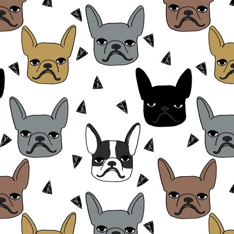 frenchie // cute french bulldog illustration french bulldog dog breed fabric fabric by andrea_lauren on Spoonflower - custom fabric