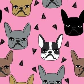 frenchie // french bulldog dog dog breed fabric frenchie fabric french bulldog fabric cute dog pink