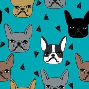 frenchie // french bulldog dog breed fabric frenchie fabric dogs dog fabric turquoise teal