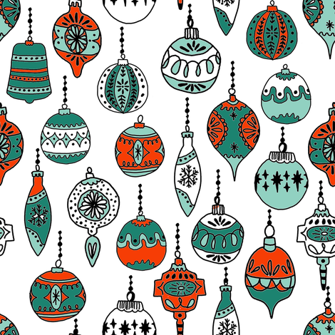 christmas ornaments // christmas ornament holiday xmas red and green holiday xmas fabric fabric by andrea_lauren on Spoonflower - custom fabric