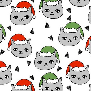 christmas cat // christmas cats red and green cute christmas fabric, andrea lauren, andrea lauren fabric