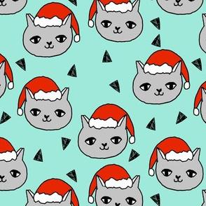 christmas cat // mint christmas, christmas fabric, holiday, xmas, holiday fabric, cute girls cat fabric